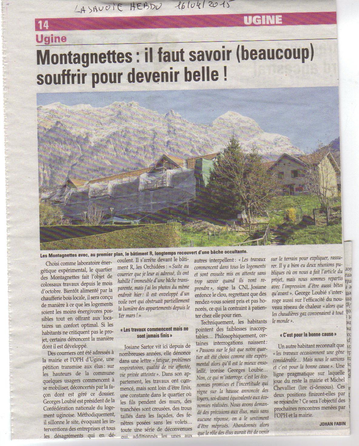 Journal la Savoie article sur la Montagnette du   16.04.15