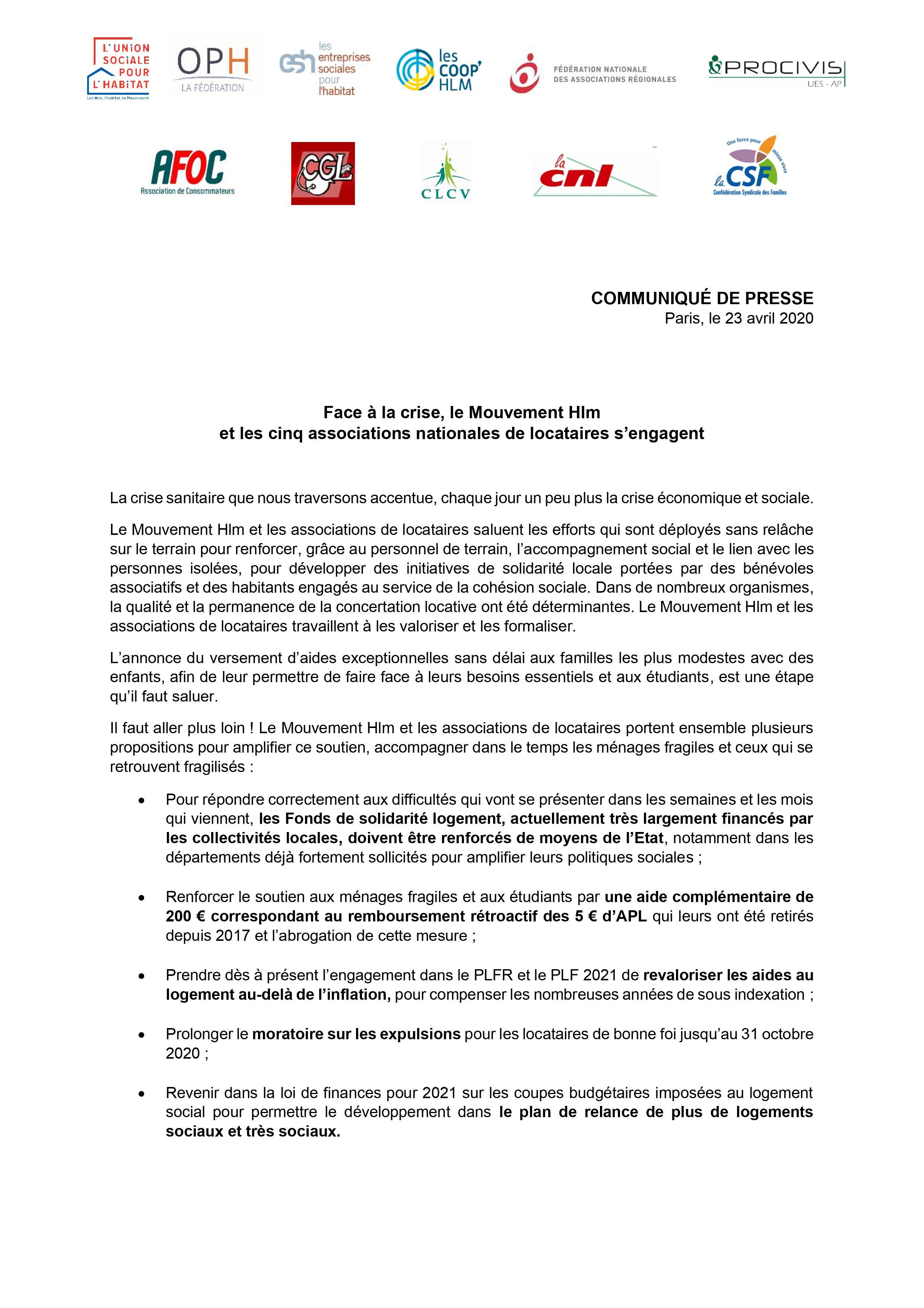 CP - Face à la crise le Mouvement Hlm et les 5 associations nationales de locataires sengagent 23.04.2020 (jpeg 1)