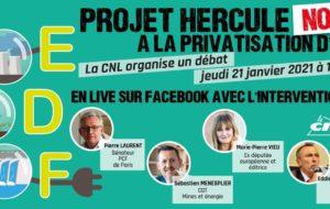 CNL : Grand débat sur le service public de l'énergie et le projet Hercule le 21 Janvier 2021 à 19h00 !